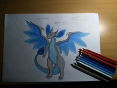 Well..... how to say that... I just got an idea, that i should draw something... and i chosed Mega Charizard X.... and well here it is... It took me more than 3 hours.... but its ok! I really enjoyed time, when I was drawing that! The whole time I were listening one really annoying song, what made me focused on that drawing... so like... Yeah!
