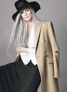 Kristen McMenamy (probaby butchered that spelling)   I want her gorgeous hair when I am all grey.