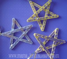 popsicle stick stars - made these with AWANA kids when we talked about the wise men... they colored with crayons, then spread glitter glue with paintbrushes (would be cute with sequins, buttons, etc. too)