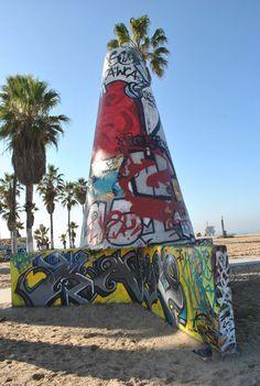 Graffiti cones at Venice Beach