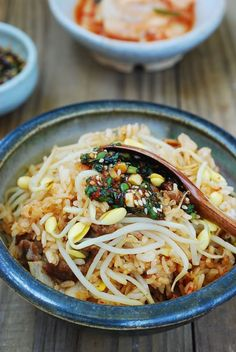 """Kongnamul bap is basically rice cooked with soybean sprouts. Simply cook the rice with soybean sprouts and other ingredients you'd like to add for delicious Korean rice bowls! Korean Rice, Korean Dishes, Korean Food, Chinese Food, Asian Recipes, Healthy Recipes, Ethnic Recipes, Healthy Food, Drink Recipes"