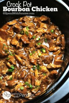This delicious Bourbon Chicken simmers in the crock pot all day for an easy meal! The marinade creates a delicious sauce and is perfect served over rice!