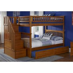 Columbia Full over Full Stairway Bunk Bed in Caramel Latte