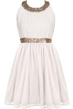 Sorority Girl Dress | Cream Gold Sequin White Babydoll Dresses | Rickety Rack
