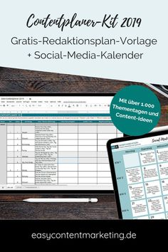 Free editorial plan template for all 365 days and social media calendar with . Inbound Marketing, Content Marketing Tools, Social Media Marketing Business, Social Networks, Online Business, Social Media Calendar, Planer, Agency Office, Pinterest Pin