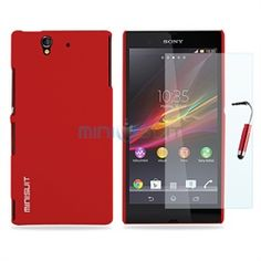 Sony Xperia Z Smartphone Bundle - Rubber Hard Case, Screen Protector, Stylus (Red)
