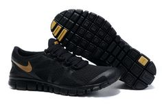 Discount Mens Nike Free 3.0 V3 Black Gold Running Shoes