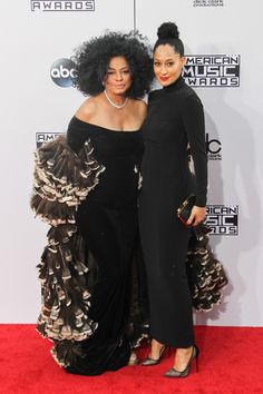 Tracee Ellis Ross and mother Diana Ross 2014 American Music Awards
