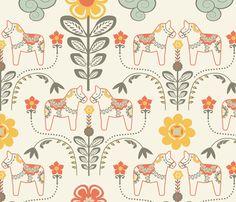 dala_horse_pastel_L fabric by nadja_petremand on Spoonflower - custom fabric