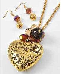 Antique Gold Tone Long Necklace & Earring Set by ModernUBoutique, $19.99
