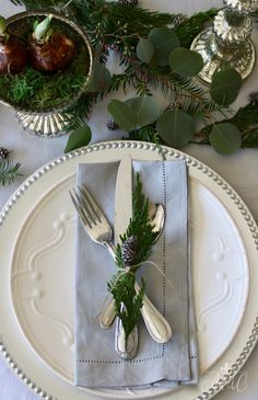 Gorgeous Holiday Table with Paperwhites and Greenery