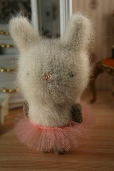 bunny tu-tu she needs better eyes and she would be most adorable, very cute though as is. Crochet Animals, Crochet Toys, Crochet Bunny, Sewing Crafts, Sewing Projects, Yarn Crafts, Needle Felted, Funny Bunnies, Little Doll