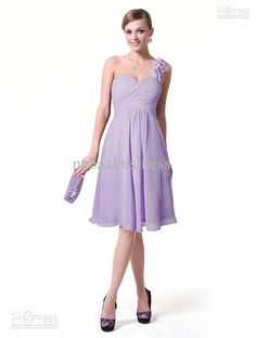 Wholesale Short A-line Light Purple One-shoulder Floral Strap Pleated Knee-length Chiffon Bridesmaid Dresses, Free shipping, $62.83/Piece | DHgate Mobile