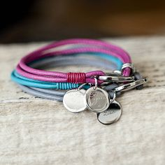 soft leather bracelet with personalised charm by between you & i | notonthehighstreet.com