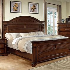 Shop for Furniture of America Eminell Antique Walnut Bedroom Set. Get free delivery On EVERYTHING* Overstock - Your Online Furniture Shop! Bedroom Bed Design, Bedroom Furniture Design, Bed Furniture, Bedroom Sets, Bedding Sets, Queen Bedroom, Bedroom Designs, Garden Furniture, Girls Bedroom