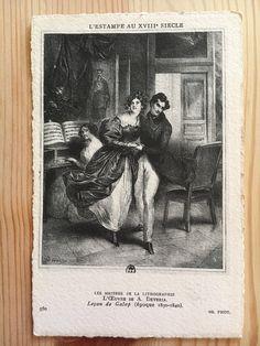 Antique pencil drawn postcard of dancing couple