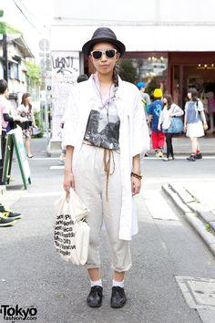 Harajuku street fashion   Straw Fedora, Abbey Road T-Shirt & Ne-net OvershirtHarajuku TOKYO Street Style