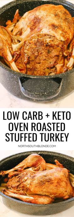 The perfect Thanksgiving or Christmas dinner made with a whole turkey cooked to juicy goodness and stuffed with low carb stuffing! Baked Roast, Oven Roast, Oven Baked, Low Carb Recipes, Real Food Recipes, Healthy Recipes, Turkey Dinner Sides, Low Carb Stuffing, Stuffed Turkey