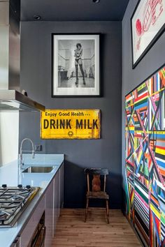 Playful gray kitchen