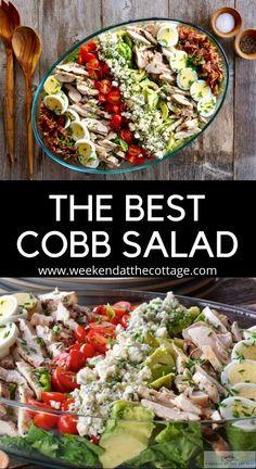Salad Recipes For Dinner, Chicken Salad Recipes, Healthy Salad Recipes, Best Grilled Chicken Salad Recipe, Healthy Chicken Salads, Chicken Avocado Salad, Salad Recipes Video, Classic Cobb Salad Recipe, Classic Salad