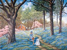 Blue Belles JohnSloaneArt.com - John Sloane - Gallery - Country Kids
