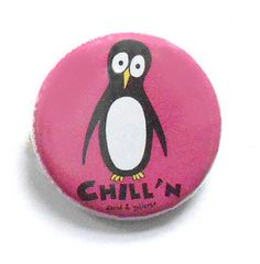 "Our colorful Chill'N Penguin Button is 1"" in diameter and will add a touch pf penguin flair to your sweater, jacket, sweatshirt, hat, backpack or where ever you think a touch of penguin flair is neede"