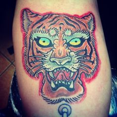 Finish Tiger italian old school by toniatutattoo . old school tattoo Tiger Skull, Florida Tattoos, Tattoo Fonts, Tattoo Shop, Color Tattoo, Drawing S, Tattos, Old School, It Is Finished
