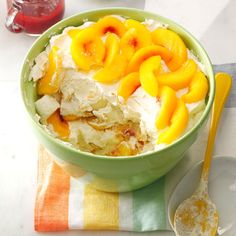 Peach Melba Trifle Recipe -This dream of a dessert tastes extra good on a busy day—you can make it ahead of time! If you don't have fresh peaches handy, subbing three cups of the canned ones works, too. —Christina Moore, Casar, North Carolina