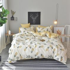 Pineapple Bed Sheet Pillowcase Duvet Cover Sets Cotton Bed Linen Twin Double Queen King Size Be - Bedding Set - Ideas of Bedding Set - Pineapple Bed Sheet Pillowcase Duvet Cover Sets Cotton Bed Linen Twin Double Queen King Size Bedding Set Cute Bedding, Cotton Bedding, Linen Bedding, Bed Linens, Dorm Bedding, Quilt Bedding Sets, Sheets Bedding, Comforter Sets, King Size Bedding Sets