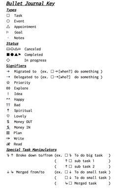 bullet journal key - Pesquisa Google Más