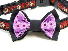 Medium Size Dog Bow - Black and Purple Polka Dog Cotton Dog Accessories. Medium Sized Dogs, Looking Dapper, Dog Bows, Dog Accessories, Bow Ties, Boutique, Purple, Cotton, Etsy