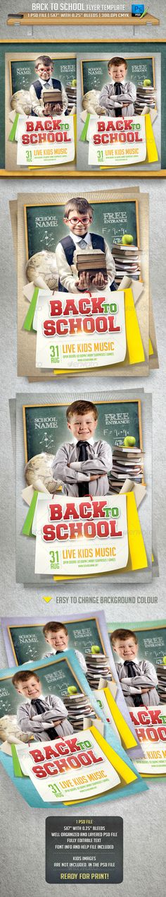 Back To School Flyer Template — Photoshop PSD #template #event • Available here → https://graphicriver.net/item/back-to-school-flyer-template/8429116?ref=pxcr