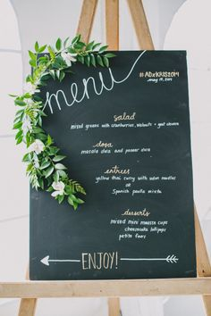 Menu sign: http://www.stylemepretty.com/canada-weddings/ontario/2015/05/05/whimsical-garden-chic-inspired-wedding-in-ontario/ | Photography: Nadia Huang - http://nadiahungphotography.com/