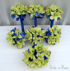Wedding bouquets green orchids royal blue by BrideinBloomWeddings, $450.00