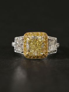 London Collections - Fancy Yellow Diamond Ring - at - London Jewelers