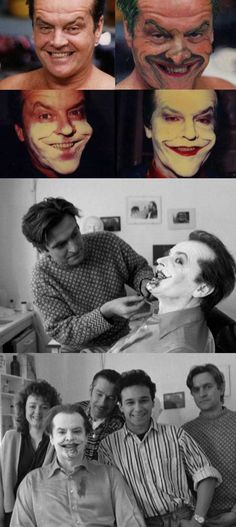 Jack Nicholson getting his makeup done to be the Joker in Batman   Rare and beautiful celebrity photos