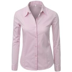 Doublju Basic Button-down Shirt with Stretch Cotton SKYBLUE (US-S) ($23) ❤ liked on Polyvore featuring tops, shirts, blouses, pink button-down shirts, pink button up shirt, button down shirts, button down top and pink top