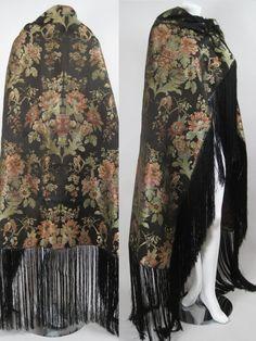 Vintage Antique 1800s Victorian Jacquard Shawl Fringed Textile Birds Floral | eBay