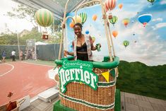 Perrier: A photo op allowed guests to step into a booth that looked like a hot-air balloon, and pose in front a whimsical backdrop.