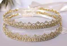 Stefana Gold or Silver plated Greek Crowns Crystal Orthodox Wedding by NatalysWeddingArt