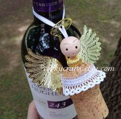 Wine cork angel ornament wine bottle tag/gift tag by Corkycrafts