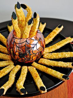 How does one recover from post trick-or-treating sugar shock? These cheddary witch fingers should do the trick. Click through for the recipe and more deliciously spooky Halloween party snacks.