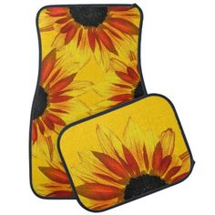 Sunflower Flower Car Mats ~ http://www.zazzle.com/sunflowers_abstract_floor_mat-256383253229400085?rf=238756979555966366 Sunflowers Abstract: Brilliantly colored decorative set of car mats features orange, yellow, red and gold sunflowers wide open against a golden yellow background. #CarMats #Sunflowers #Zazzle Sunflower Items. Gorgeous sunflowers on variousproducts. Click to see samples: http://www.zazzle.com/tracytrends/gifts?cg=196289071872793213&ps=120&rf=238756979555966366&tc=PinKRM