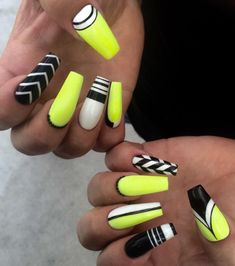 Neon yellow, black, white nail art
