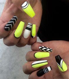 Neon yellow, black, white nail art