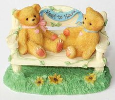"""Two Bears On A Bench """"Heart To Heart"""""""