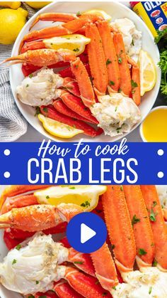 Crab legs are one of the easiest things to make at home. Skip the expensive restaurant mark-ups and enjoy this gourmet treat at home. We'll show you how to boil, steam, or broil in the oven as well as show you how to eat crab legs too! Seafood Boil Recipes, Lobster Recipes, Crab Recipes, Cajun Seafood Boil, Shrimp And Crab Boil, Shrimp Tacos, Salmon Recipes, Potato Recipes, Vegetable Recipes
