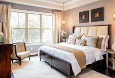 Traditional Master Bedroom with Vanesta Silver Round End Table, Humphrey Bogart Stephen's Upholstered Bed