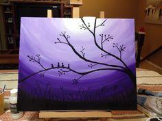 Birds on branch night Bird On Branch, Birds, Passion, Paintings, Night, Purple, Bird, Painting, Draw