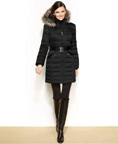 DKNY Hooded Faux-Fur-Trim Belted Down Puffer Coat - Coats - Women - Macy's Black - M